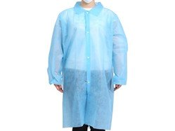 PP-Non-Woven-Disposable-Lab-Coat-with-Traditional-Collar-Elastic-Snaps-Coat